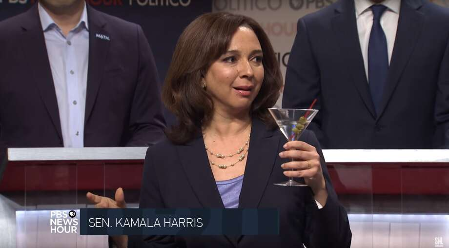 "Maya Rudolph crashes the ""Saturday Night Live"" cold open on Dec. 21, 2019 as Senator Kamala Harris. Photo: Saturday Night Live/NBC"