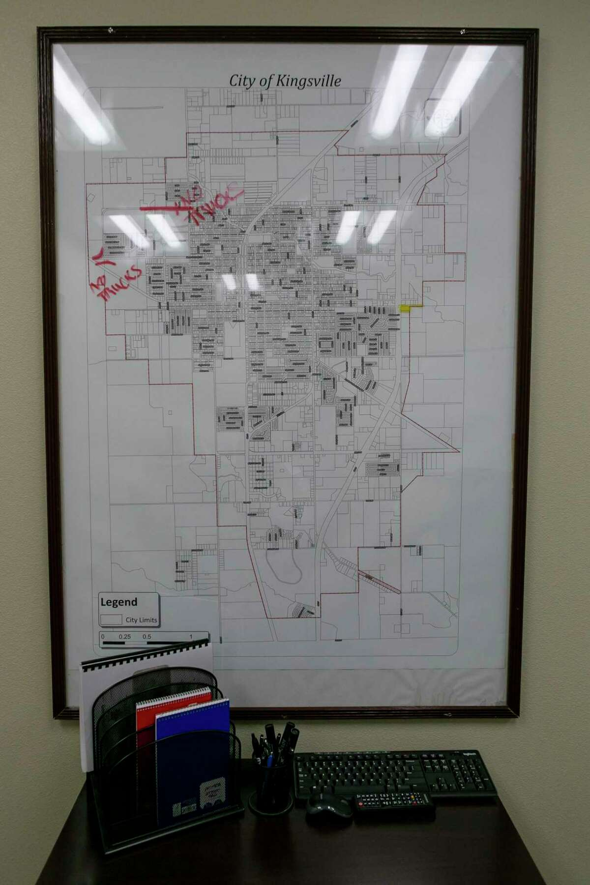A map of the town hangs on the wall in the City of Kingsville office.