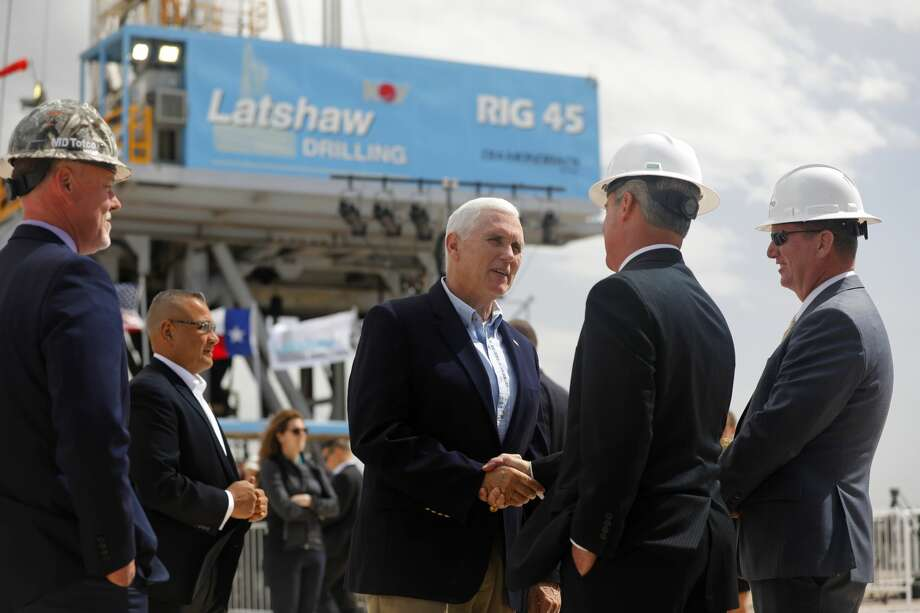 Vice President Mike Pence meets with Diamondback Energy executives at a drilling site April 17 in Midland County. Pence toured a Latshaw Drilling Rig and made statements about United States trade negotiations. Photo: James Durbin / Midland Reporter-