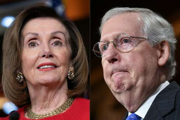 (COMBO) This combination of pictures created on December 23, 2019 shows Speaker of the House Nancy Pelosi at a press conference on Capitol Hill in Washington, DC, December 19, 2019 and US Senate Majority Leader Mitch McConnell (R-KY) at a media availability on November 7,2018 on Capitol Hill in Washington,DC. - US House Speaker Nancy Pelosi and Senate Majority Leader Mitch McConnell spar over the ground rules for President Donald Trump's trial in the Senate on charges of abuse of power and obstruction of Congress. (Photos by SAUL LOEB and Nicholas Kamm / AFP) (Photo by SAUL LOEB,NICHOLAS KAMM/AFP via Getty Images)