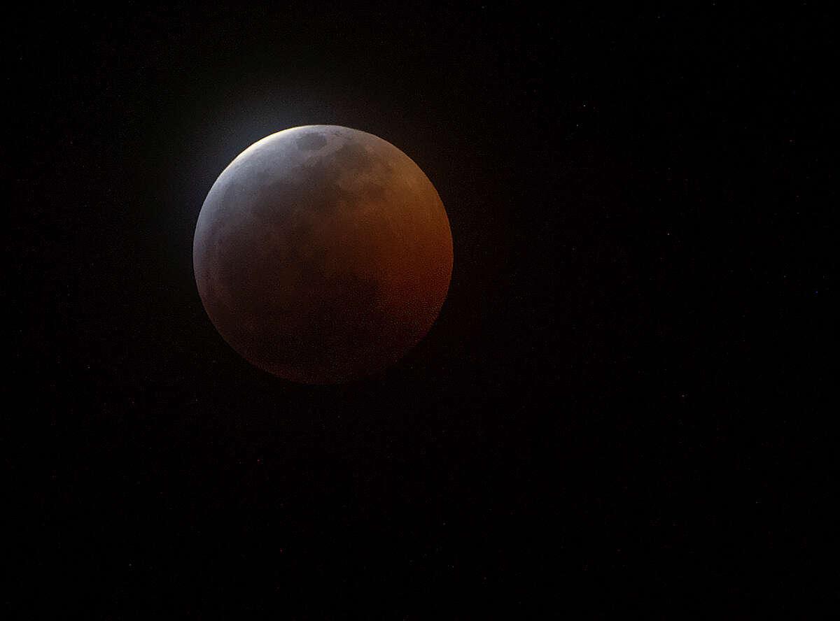The super blood wolf moon is seen Jan. 20.