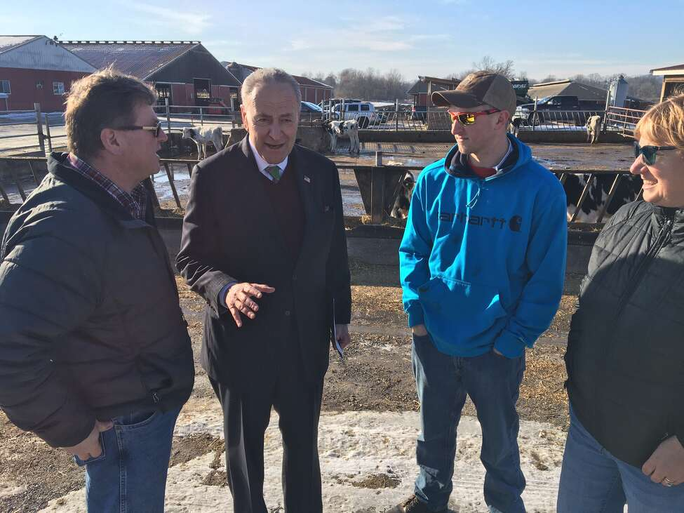 U.S. Sen. Charles E. Schumer spoke at the Walker Farms Heifer Facility in Washington County on Dec. 23, 2019.