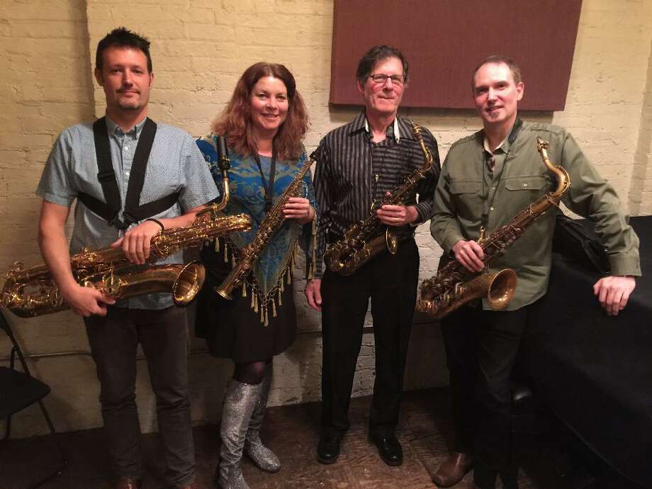 Broken Reed Saxophone Quartet, featuring Dimitri Moderbacher, Jenny Hill, Charley Gerard and Justin Flynn, is at the JCC in Sherman Jan. 4. Photo: Mike Moses / Contributed Photo