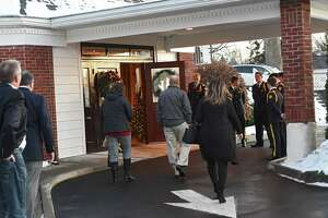 People show up at Dufresne & Cavanaugh Funeral Home to attend wake and services for six-week old baby Eli Ojeda-Harmon Monday, Dec. 23, 2019 in Latham, N.Y. Eli died Dec. 3 in Cohoes after allegedly ingesting methamphetamine. (Lori Van Buren/Times Union)