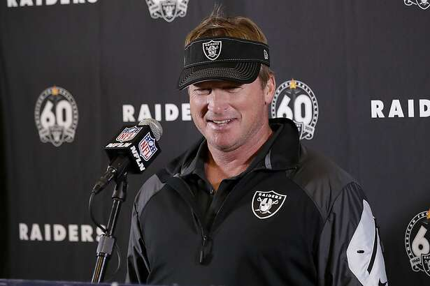 Oakland Raiders head coach Jon Gruden speaks during a news conference after an NFL football game against the Los Angeles Chargers Sunday, Dec. 22, 2019, in Carson, Calif. The Raiders won 24-17. (AP Photo/Marcio Jose Sanchez)