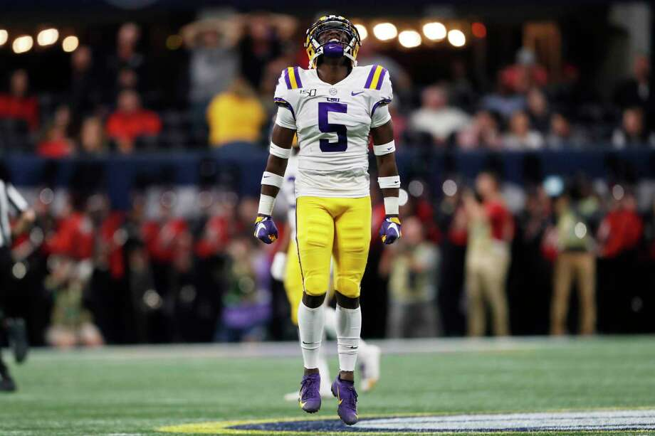 LSU cornerback Kary Vincent Jr. (5) reacts to an interception against Georgia during the first half of the Southeastern Conference championship NCAA college football game, Saturday, Dec. 7, 2019, in Atlanta. (AP Photo/John Bazemore) Photo: John Bazemore, Associated Press / Copyright 2019 The Associated Press. All rights reserved