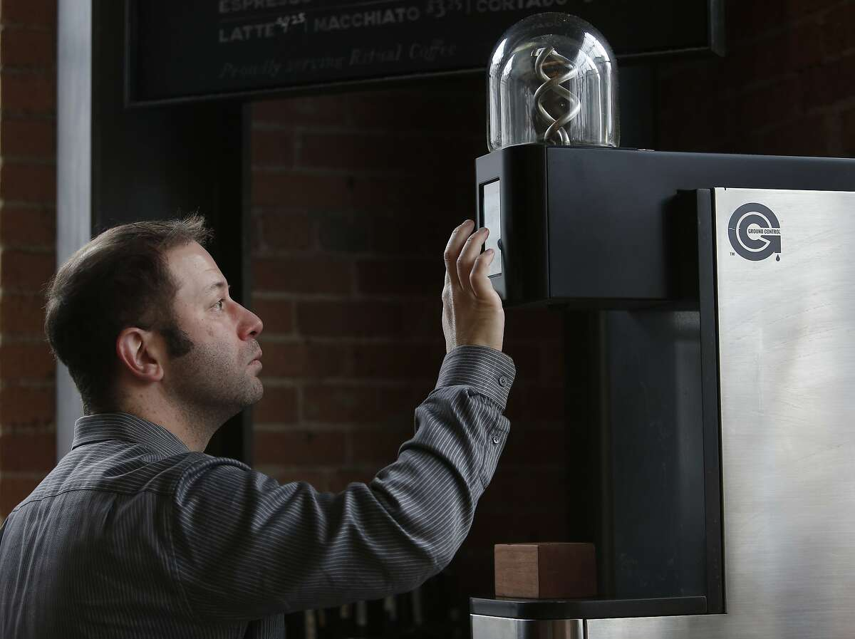 Eli Salomon, Voga co-founder and chief executive officer, prepares to make coffee in a Ground Control batch brew machine at Dandelion Chocolate Factory on Wednesday, December 18, 2019 in San Francisco, Calif.