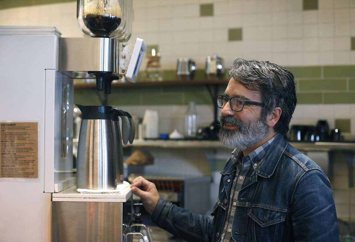 Highwire Coffee Roaster co-founder Rich Avella operates a Ground Control batch brew coffee maker in Berkeley, Calif. on Friday, Dec. 6, 2019.