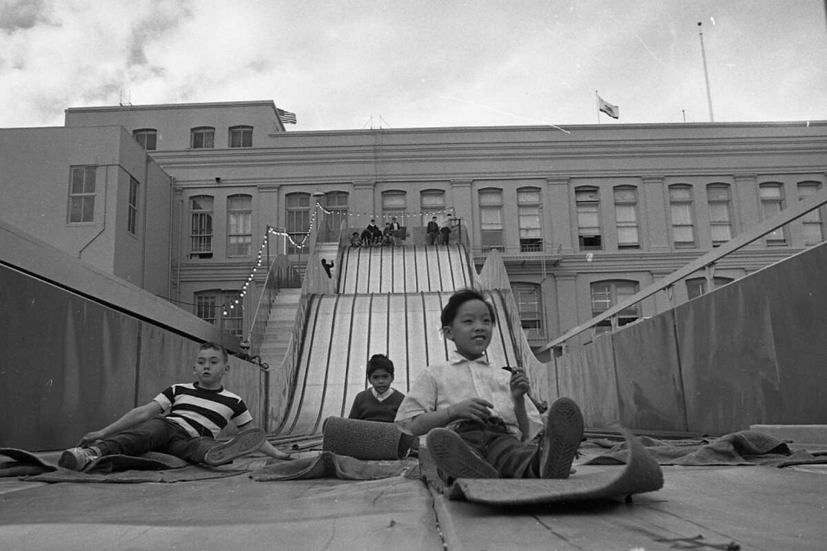 The Emporium department store's rooftop entertainment included a small roller coaster, trains and a Ferris wheel. Photo taken on Dec. 17, 1968.