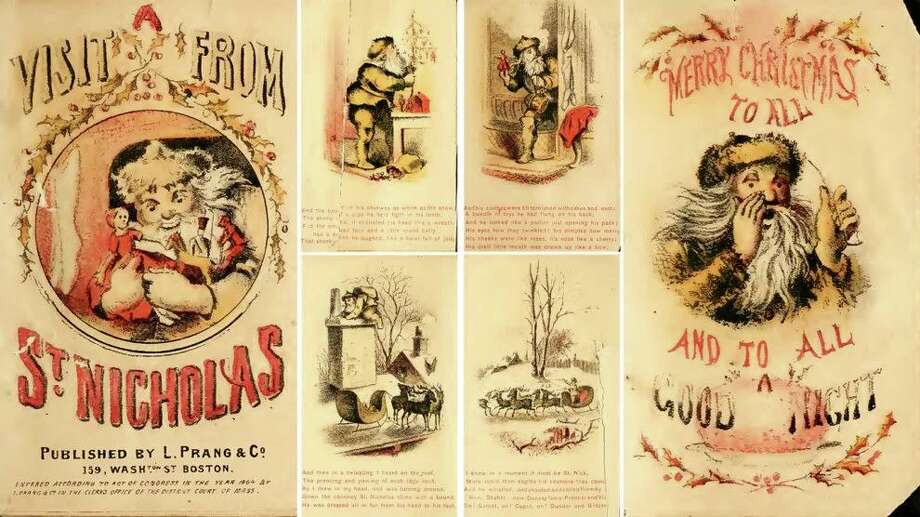 "Pages from an 1864 edition of Clement Moore's poem ""A Visit from St. Nicholas."" Printings of Moore's poem included some of the first images of St. Nicholas. Photo: Images Courtesy Of Creative Commons"