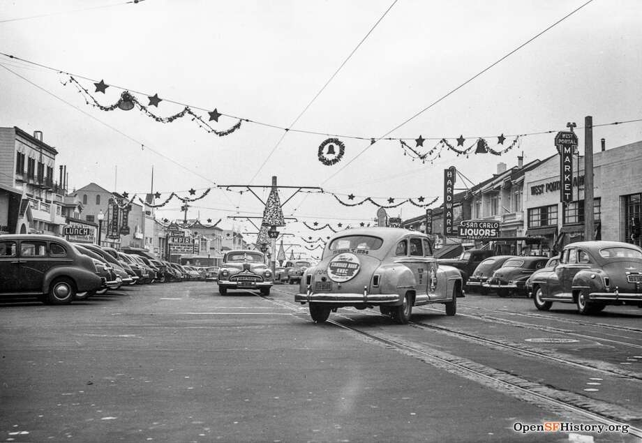 West Portal Avenue, San Francisco, Christmastime, 1947 Photo: Courtesy Of A Private Collector, OpenSFHistory / Wnp33.00161.jpg