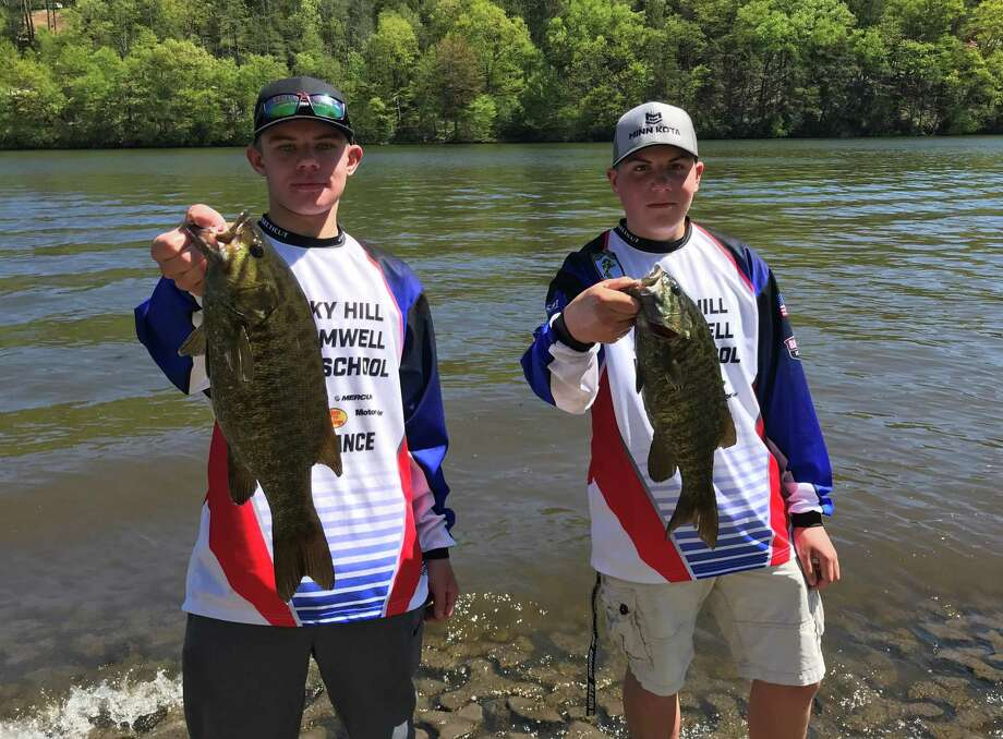 Ryan Corcoran, left, and Mason DeCarlo will represent Connecticut in a national fishing tournament after winning the state championship. Photo: Paul Augeri / For Hearst Connecticut Media