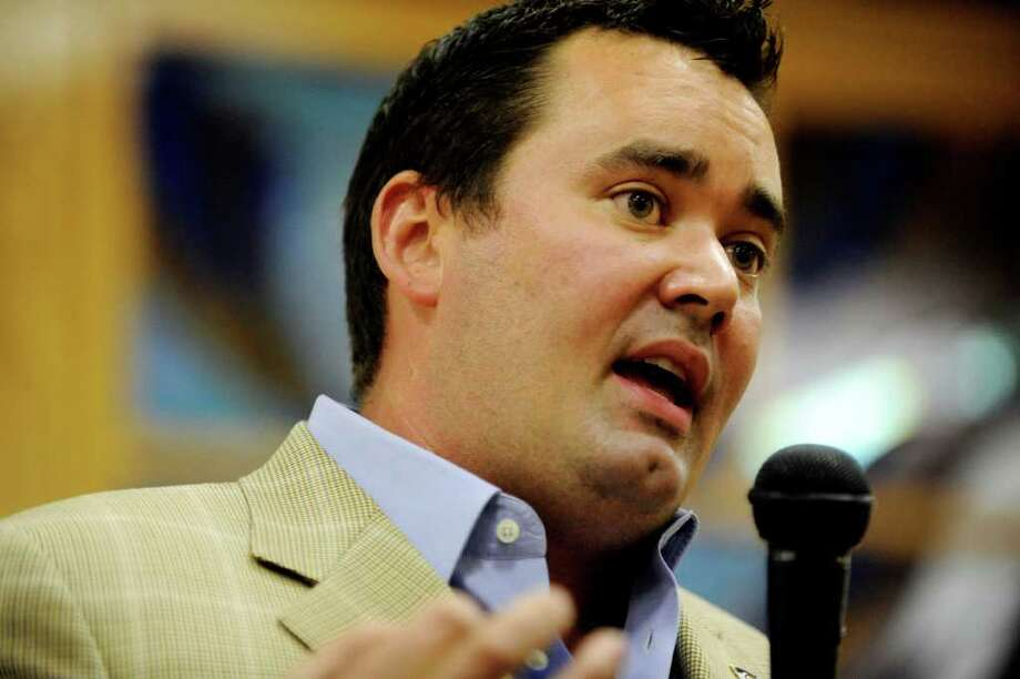 Greenwich native Walker Stapleton, the Republican nominee for Colorado state treasurer, makes a campaign stop in that state July 20. Photo by Hyoung Chang/The Denver Post Photo: Contributed Photo / Greenwich Time Contributed