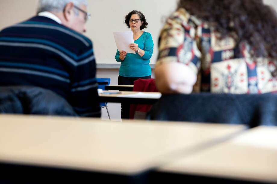 Noga Givon reads a memoir she wrote during for her now-canceled class at City College of San Francisco. Photo: Photos By Santiago Mejia / The Chronicle