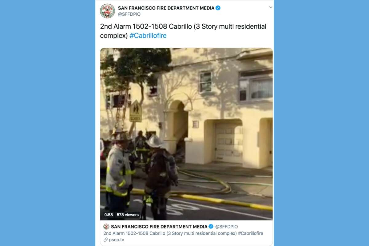 The San Francisco Fire Department responded to a fire in an apartment complex on the 1500 block of Cabrillo Street just before 3 p.m. on Dec. 23, 2019.