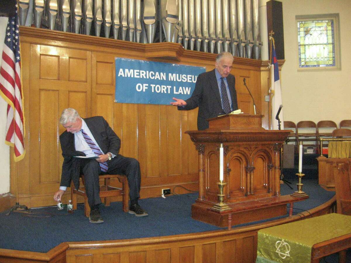 The American Museum of Tort Law held its first Tort Law Education Day on Saturday at the United Methodist Church in Winsted. Above, founder Ralph Nader, right, introduces a guest. As the museum enters its fifth year, its founders are looking for new program presenters to continue its mission of education and advocacy.