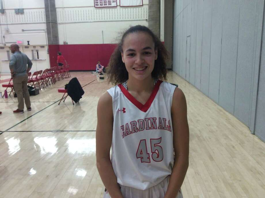 Greenwich High School freshman forward Mackenzie Nelson scored a game-high 29 points and had 14 steals in the Cardinals' 65-50 win vs. Fairfield Ludlowe on Monday, December 23, 2019, in Greenwich. Photo: David Fierro /Contributed Photo