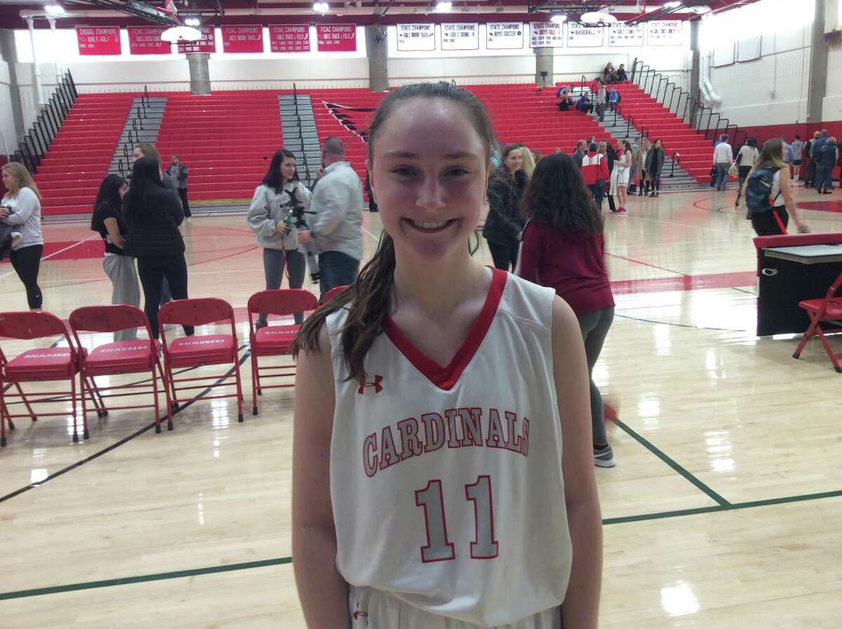 Greenwich sophomore point guard efficiently helped run the Cardinals' offense in their 65-60 comeback win vs. Fairfield Ludlowe on Monday, December 23, 2019.