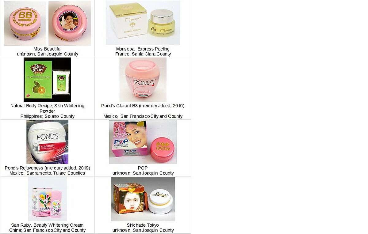 Skin cream products containing mercury.