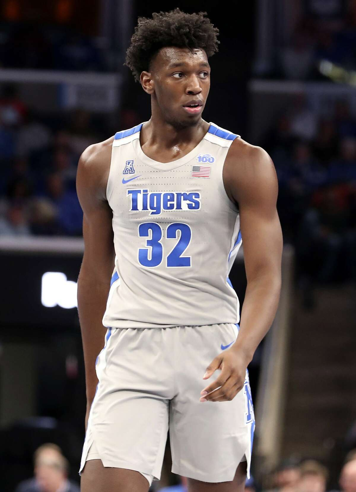 FILE - In this Saturday, Nov. 9, 2019, file photo, Memphis' James Wiseman (32) pauses between plays in an NCAA college basketball game against University of Illinois-Chicago in Memphis, Tenn.
