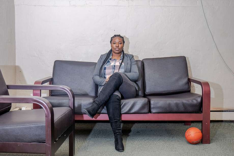 November 20 2019. Queens New York. Site Director Fatima Campbell poses for a portrait in the basement rec room at the Astoria location.   In New York City, some youth home programs offer alternatives to youth incarceration, in an attempt to create a rehabilitation as opposed to punitive model for youth in the criminal justice system. On Tuesday afternoon, the Chronicle was given a tour of two Sheltering Arms shelter locations in Queens New York. Photo: Natalie Keyssar / Special To The Chronicle