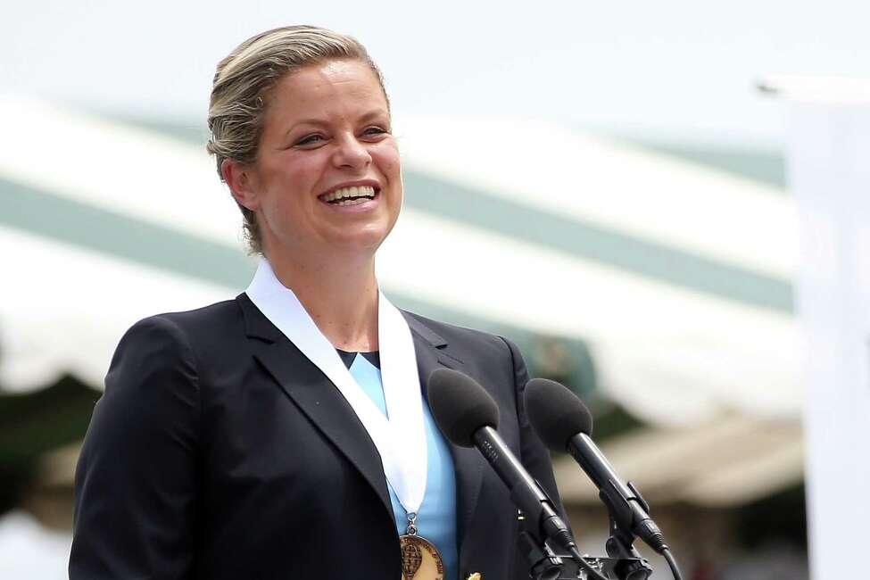 NEWPORT, RI - JULY 22: Tennis Hall of Fame inductee Kim Clijsters of Belgium speaks during enshrinement ceremonies at the International Tennis Hall of Fame on July 22, 2017 in Newport, Rhode Island. (Photo by Adam Glanzman/Getty Images for the International Tennis Hall of Fame) ORG XMIT: 775008275