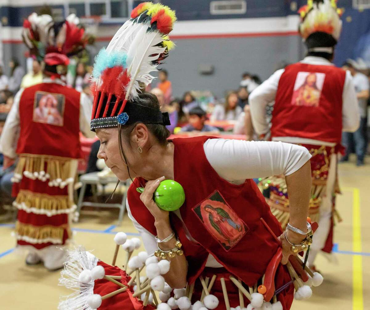 Matachines perform the Danza de Matachines during a celebration of Las Posadas, Saturday, Dec. 7, 2019, in Conroe. Matachines are a dance troupe that perform on special occasions such as Dia de la Guadalupana and Las Posadas throughout Hispanic catholic communities.