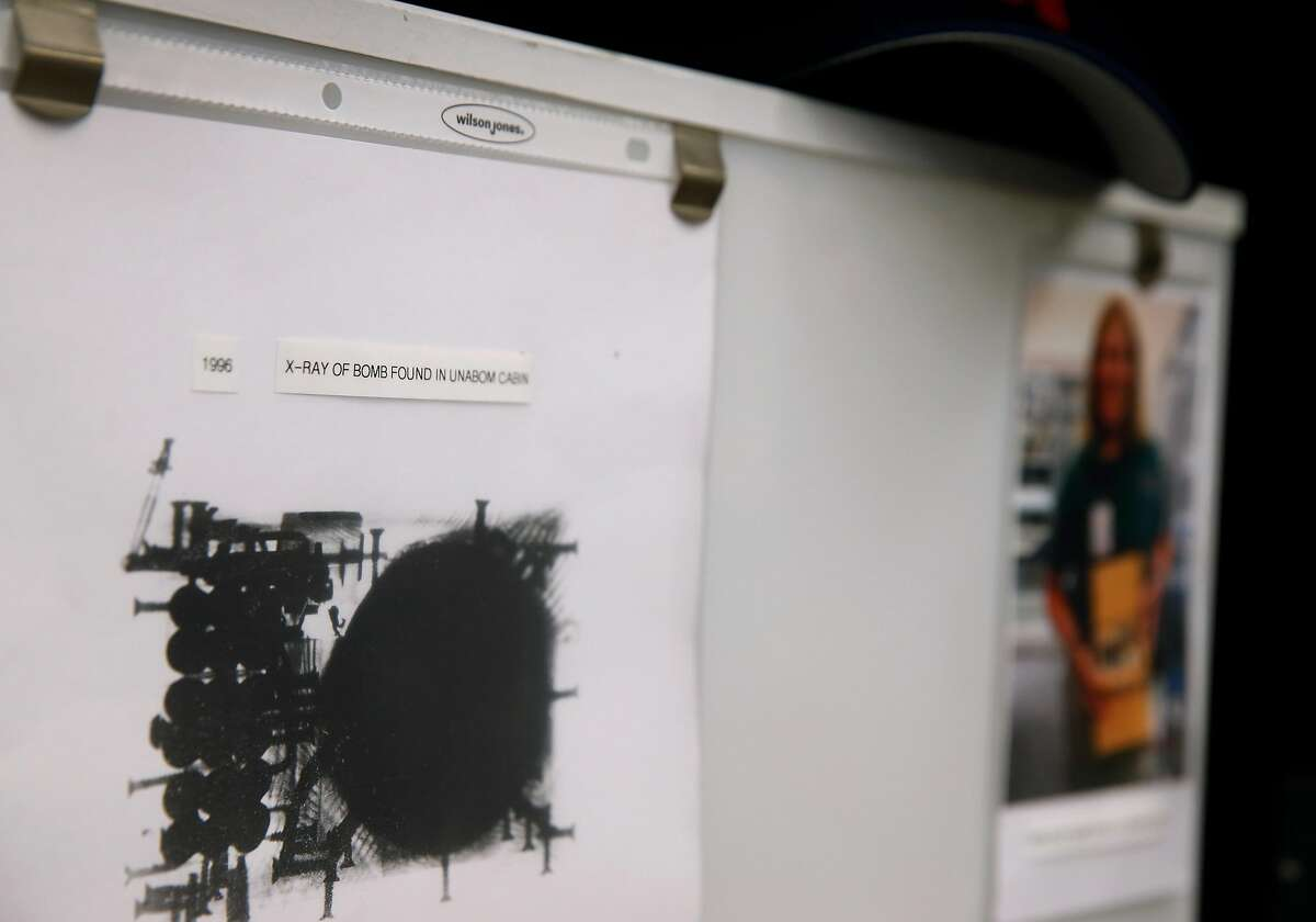 Gail Paresa, senior team leader of the Evidence Response Team for the FBI's San Francisco field office, keeps a copy of an x-ray of a Unabomber explosive device in a display case in the unit's office and warehouse at an undisclosed location in the East Bay on Tuesday, Dec. 17, 2019. The ERT has investigated several high profile cases including the Unabomber, the Polly Klaas kidnapping and murder and the recent Gilroy Garlic Festival mass shooting.