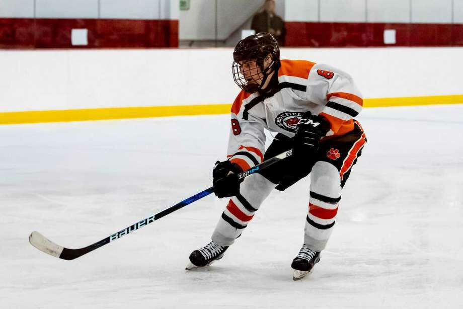 Kees van Wees had three goals and three assists as the Ridgefield boys hockey team routed Norwalk/Brien McMahon, 8-0, on Monday. Photo: Chris Palermo / For Hearst Connecticut Media