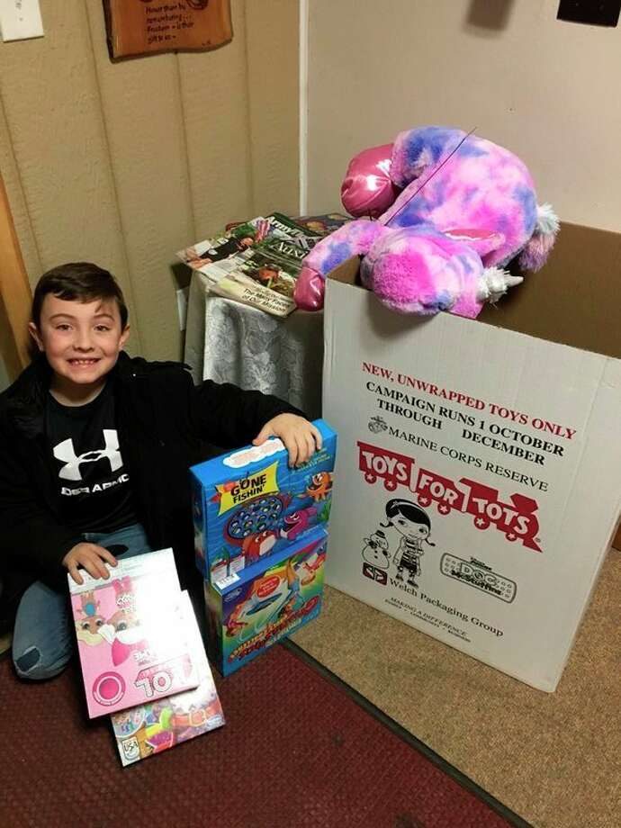 Tripp Payne was among the Unionville-Sebewaing Middle School students who helped with Huron County's Toys for Tots effort. (Provided photo)