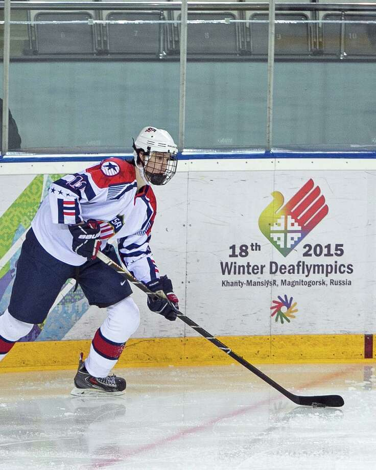 Garrett Gintoli of Shelton won a bronze medal with the U.S. ice hockey team last month at the 2015 Winter Deaflympics in Russia. Gintoli, who played junior hockey with the South Shore (Mass.) Kings this season, was joined on Team USA by his older brother, Peter. Photo: Maureen Lingle / Contributed Photo / Connecticut Post Contributed