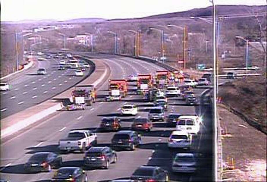 Traffic is detoured off of I-91 north on Tuesday, Dec. 24, 2019 as state police investgate an earlier accident. Photo: State DOT Traffic Cam