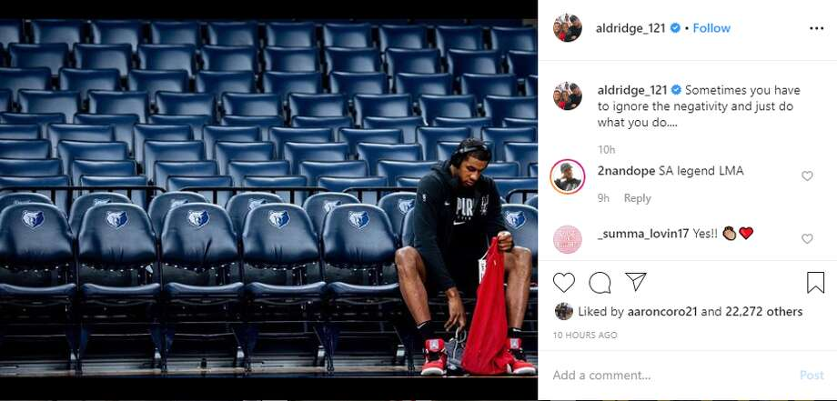 """""""Sometimes you have to ignore the negativity and just do what you do,"""" Spur LaMarcus Aldridge captioned this Instagram photo Monday night after beating the Memphis Grizzlies 145-115. Photo: Instagram Screengrab"""