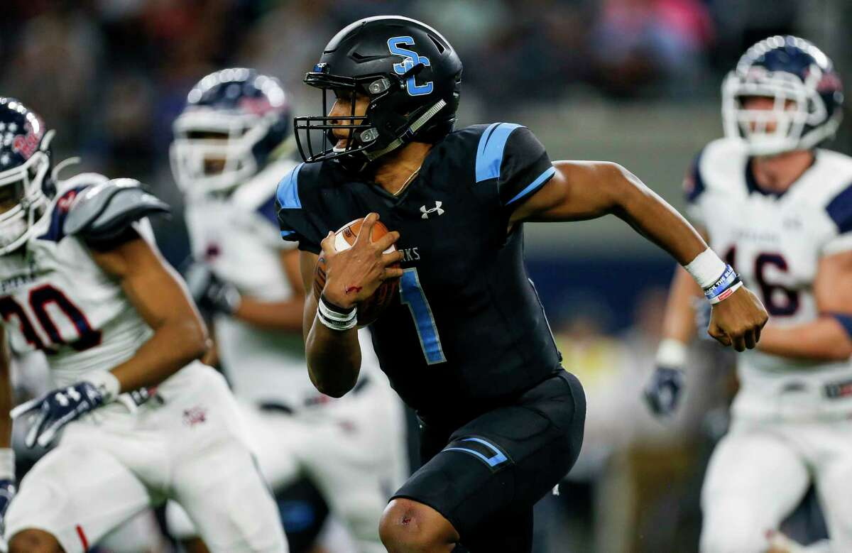 Shadow Creek quarterback Kyron Drones (1) was selected as the most valuable player on the all-District 10-5A football team.