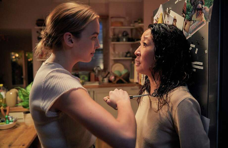 "Villanelle (Jodie Comer) and Eve (Sandra Oh) have some issue to work out in ""Killing Eve."" Photo: BBC AMERICA / BBC America"