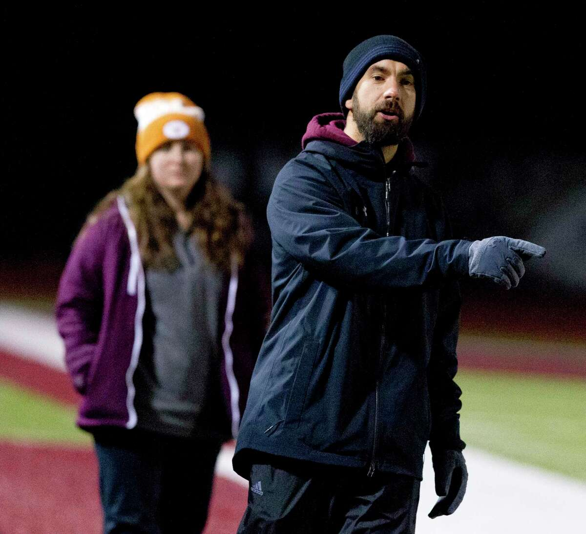 Magnolia West head coach Christian Boehm is seen during the second period of a District 19-5A high school soccer match at Magnolia West High School, Tuesday, March 5, 2019, in Magnolia.