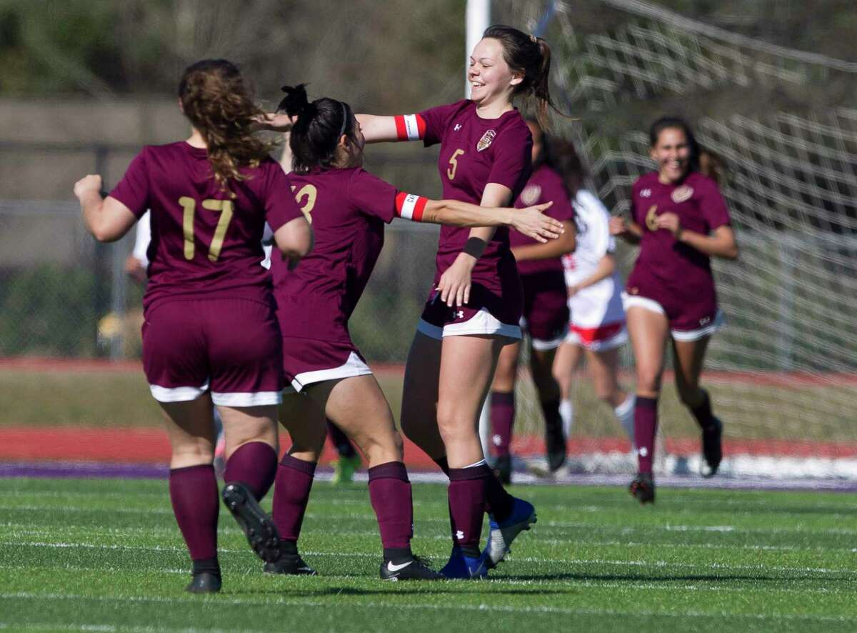 In this file photo, Brooke Brown #5 of Magnolia West reacts after scoring a goal in the second period of a match during the Willis Kat Cup soccer tournament at Berton A. Yates Stadium, Saturday, Jan. 12, 2019, in Willis.