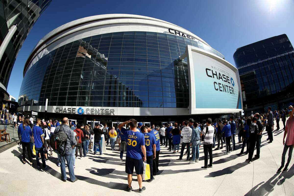 An exterior view of the Chase Center before the Golden State Warriors game against the Los Angeles Lakers on October 05, 2019 in San Francisco, California.