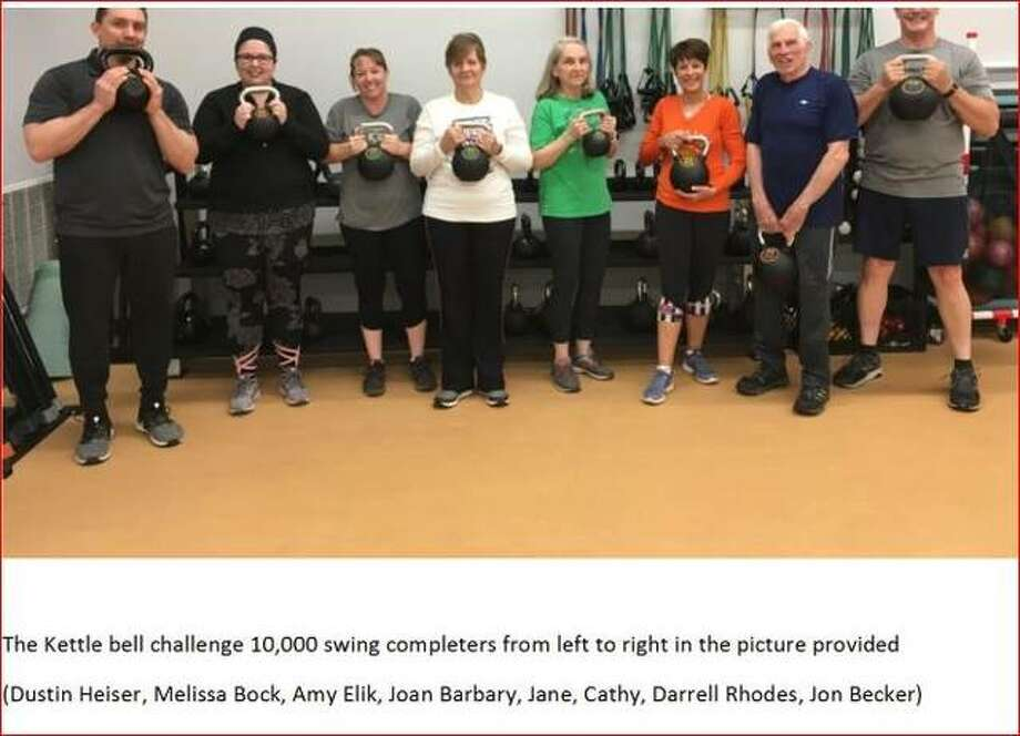 Members of a Senior Services Plus Wellness Center kettlebell group have completed 10,000 hard-style kettlebell swings. Kettlebell sessions are offered twice a week at the center.