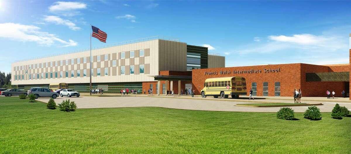 Artist's rendering of the completed Walsh Intermediate School in Branford.