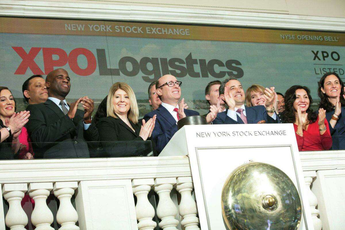 XPO Logistics CEO Bradley Jacobs in April 2018 on the floor of the New York Stock Exchange. (XPO photo via Twitter)