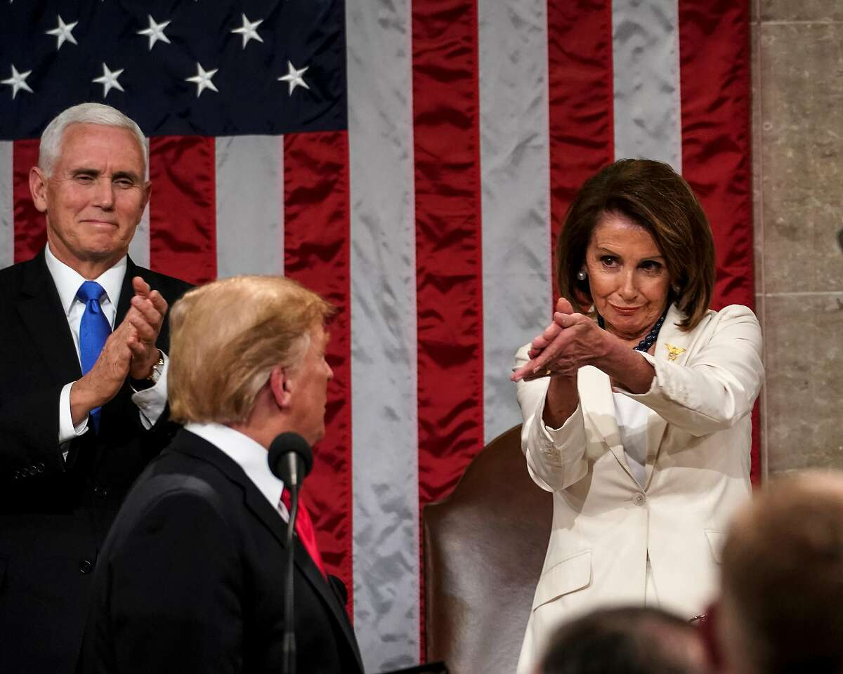 FILE -- House Speaker Nancy Pelosi (D-Calif.) applauds during President Donald Trump's State of the Union address at the Capitol in Washington on Feb. 5, 2019. It was a clap that resonated around the world. (Doug Mills/The New York Times)