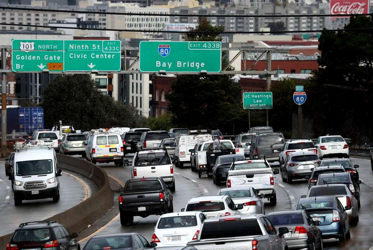 Traffic moves along U.S. Highway 101 towards downtown San Francisco on Nov. 27, 2019, in San Francisco.