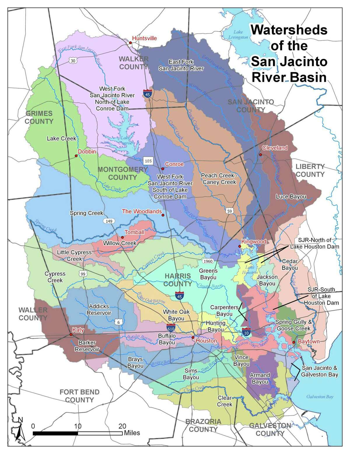 The San Jacinto River Authority covers water systems from Huntsville to the coast. Lake Conroe and Lake Houston are major water sources in the San Jacinto Watershed that continue to have community turmoil building over whether Lake Conroe should be lowered two feet below normal elevation levels to protect those downstream during potential flooding events.