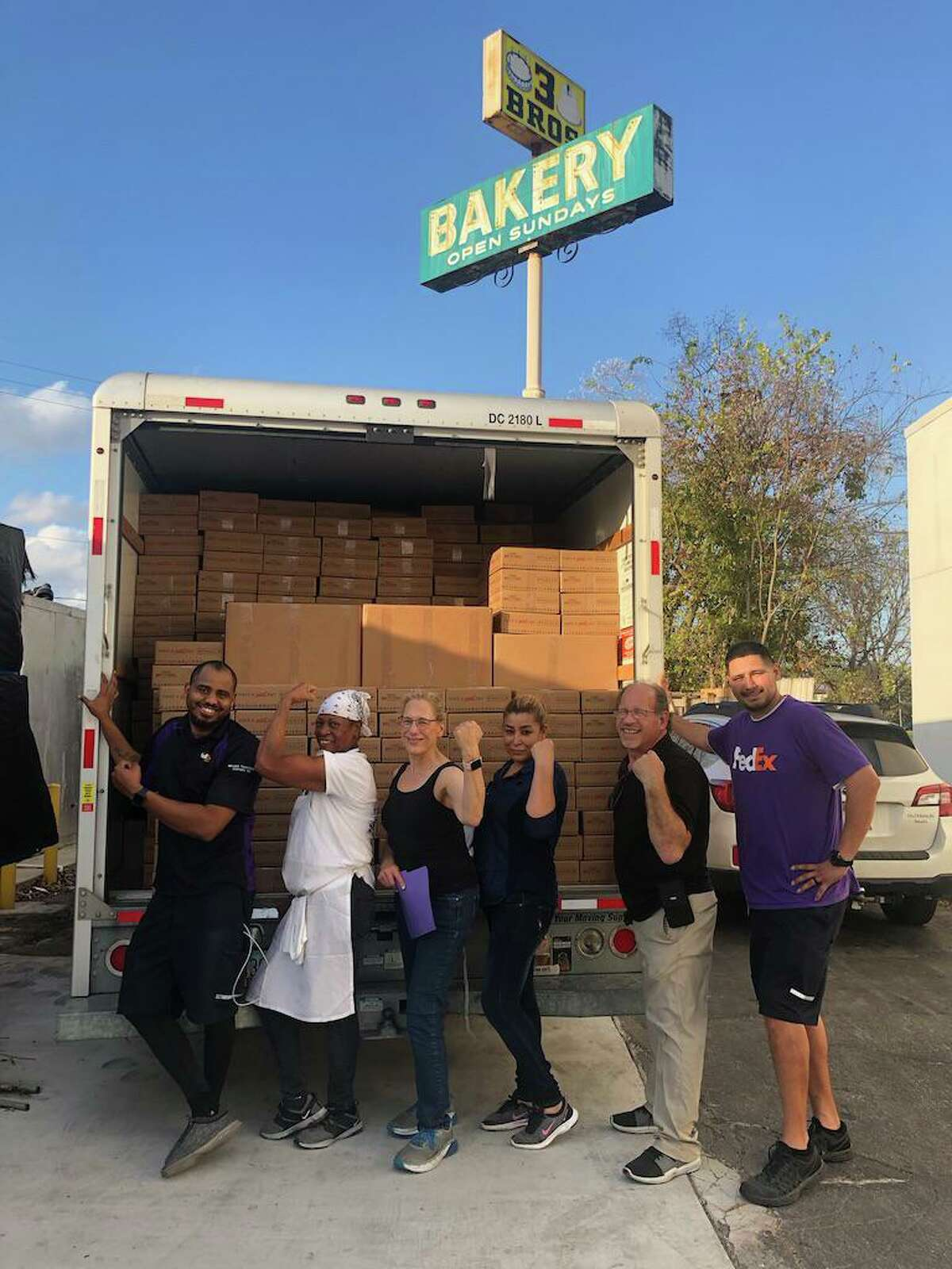 Three Brothers Bakery is hoping to sell 25,000 to 50,000 pecan pies to help survive the COVID-19 pandemic. Here, its crew set their all-time record in December 2019, shipping out about 4,000 pies in just two days.