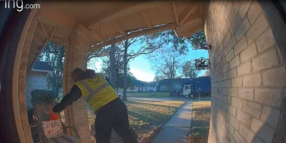 The present had been dropped off by the garbage man, Murray said, noting that the video shows the man dropping off the wrapped present on a chair on the front porch of their home.