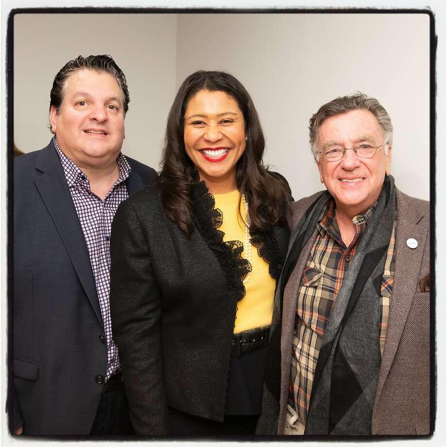 John Konstin (left), Mayor London Breed and press agent Lee Houskeeper. Photo: Drew Altizer