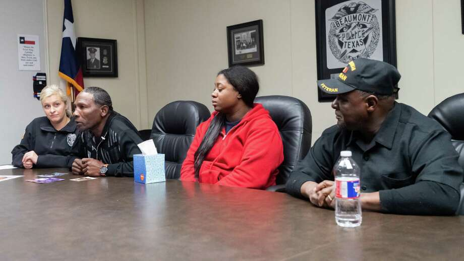 The  family of Reily Francis speak with news media at a press conference at BPD headquarters on Tuesday,  December 24, 2019. From left are officer Haley Morrow, brother Gary Francis, daughter Veronica Joseph, and brother Keith Francis, Sr. Fran Ruchalski/The Enterprise Photo: Fran Ruchalski/The Enterprise