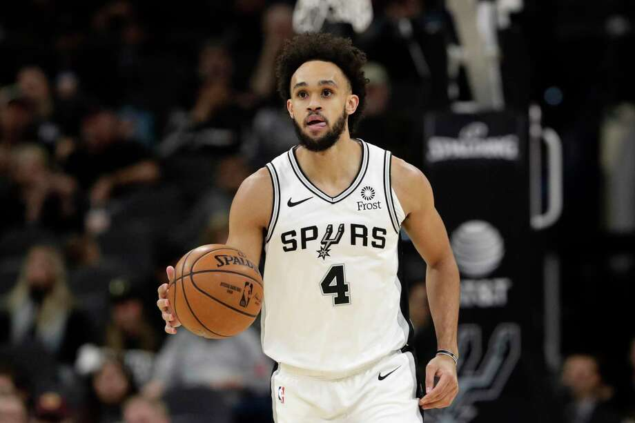 Spurs guard Derrick White proposed to his girlfriend Hannah Schneider on Sunday – and she said yes. FILE PHOTO: San Antonio Spurs guard Derrick White (4) during the first half of an NBA basketball game against the Cleveland Cavaliers, in San Antonio, Thursday, Dec. 12, 2019. (AP Photo/Eric Gay) Photo: Eric Gay /Associated Press / Copyright 2019 The Associated Press. All rights reserved.