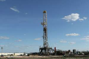A drilling rig off State Highway 72 near the South Texas town of Tilden on Thursday, February, 19, 2015.